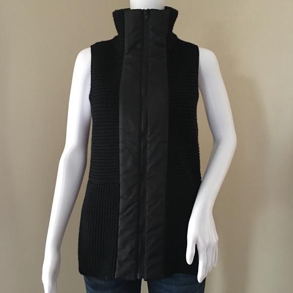 6e56a0d00a Eileen Fisher Shaped Vest Merino Wool Nylon Zip XS